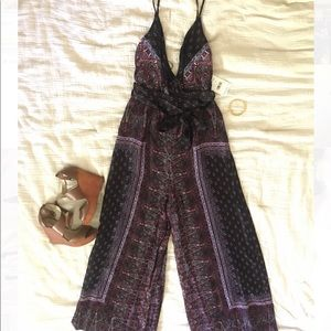 New Free People Women's Printed Wide Leg Jumpsuit